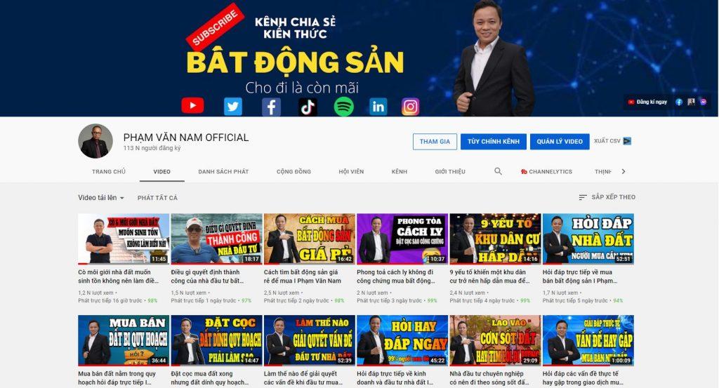 Phạm Văn Nam Kênh youtube bất động sản lớn nhất việt nam - Môi giới nhà đất chiêu trò